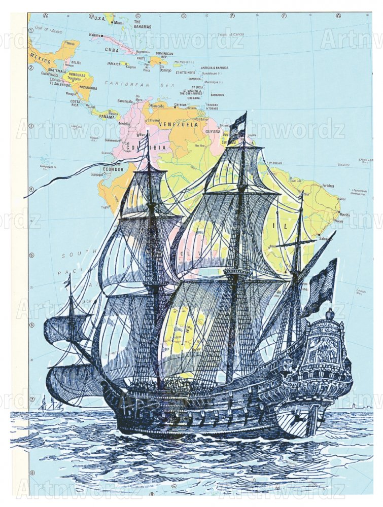 Tall Blue Ship Atlas