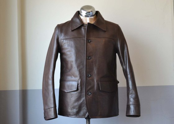 GANGSTERVILLE(ギャングスタービル) 30's Car Coat Cowhide BROWN