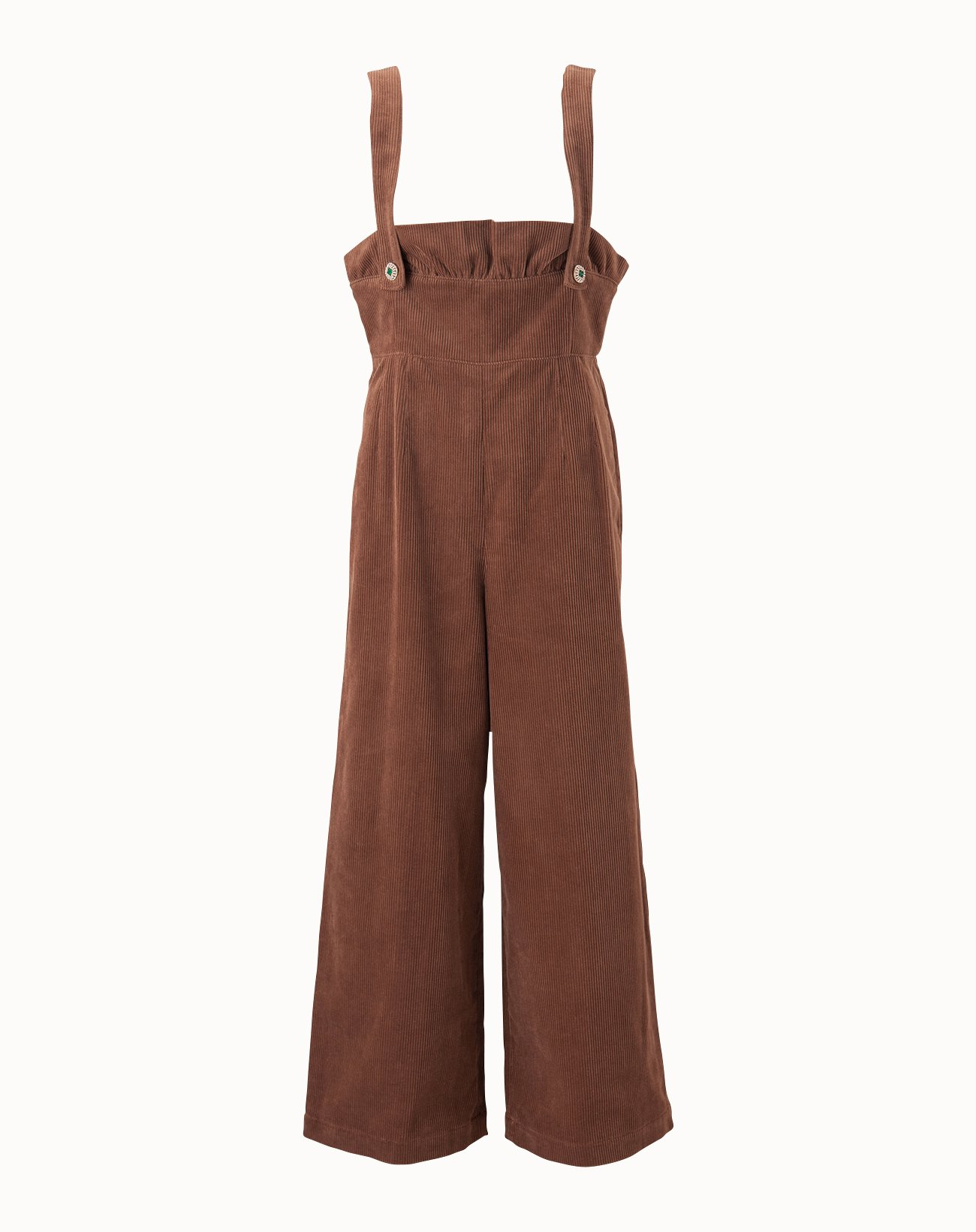 Corduroy Salopette Pants - Brown