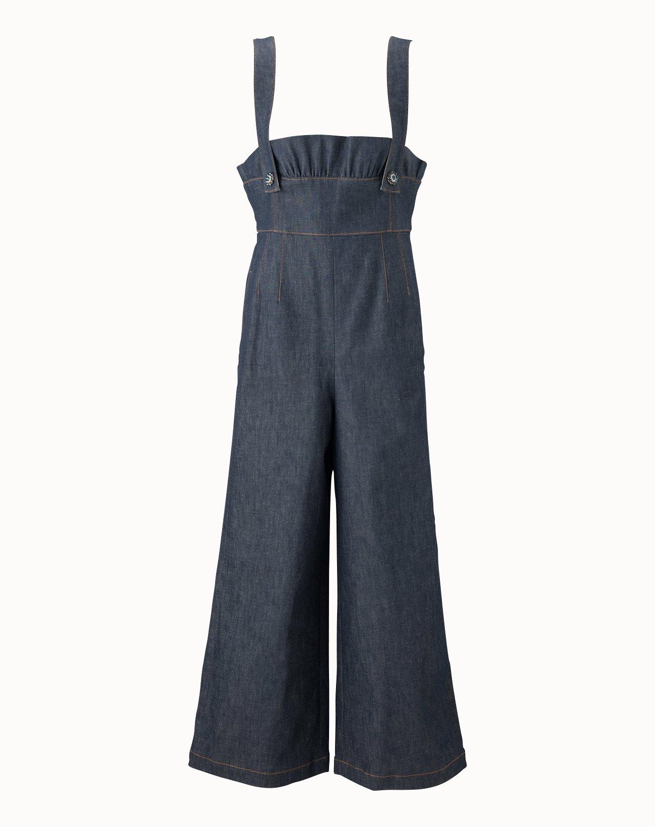 Stretch Denim Salopette Pants - Navy