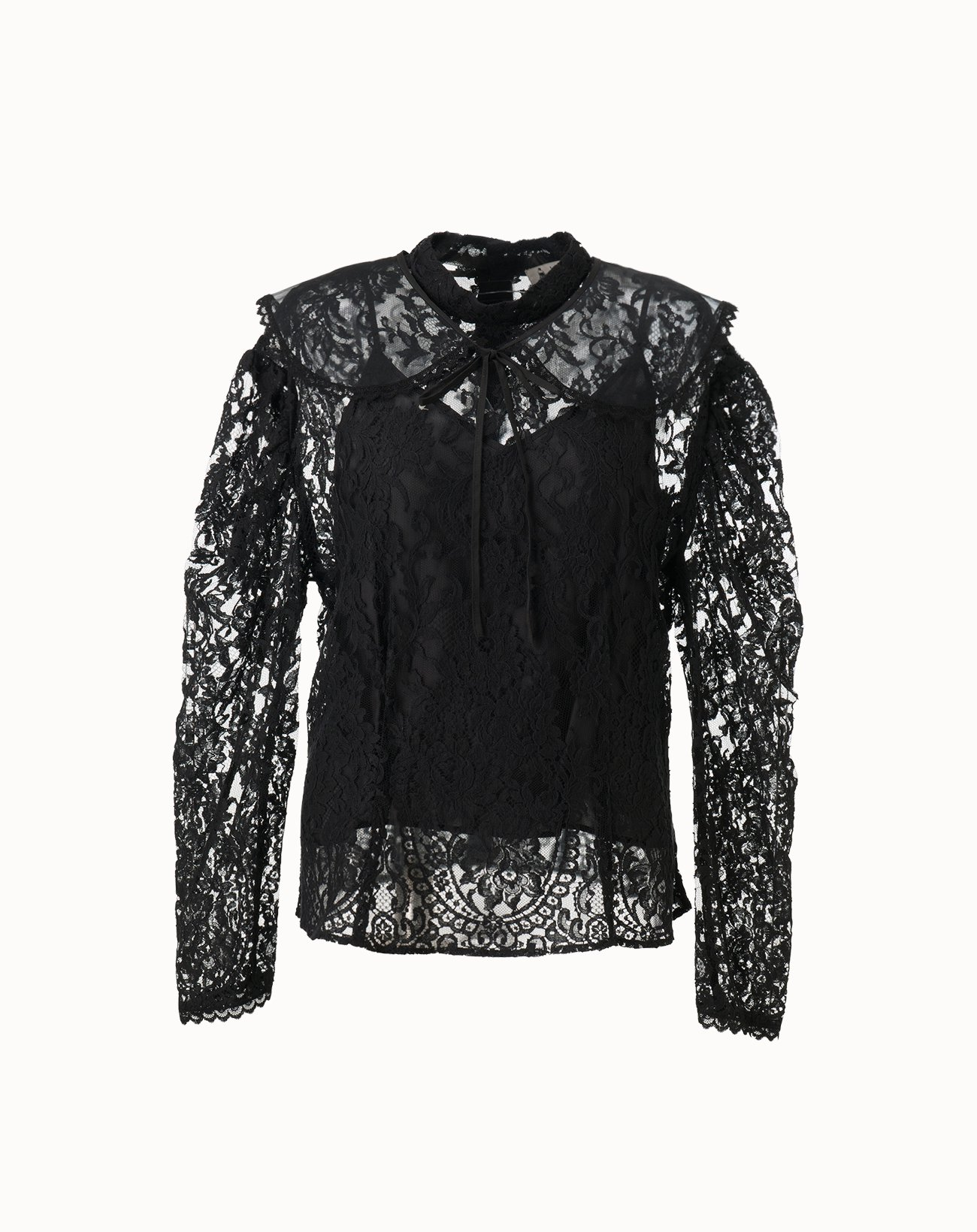 Lace Blouse with Cape - Black