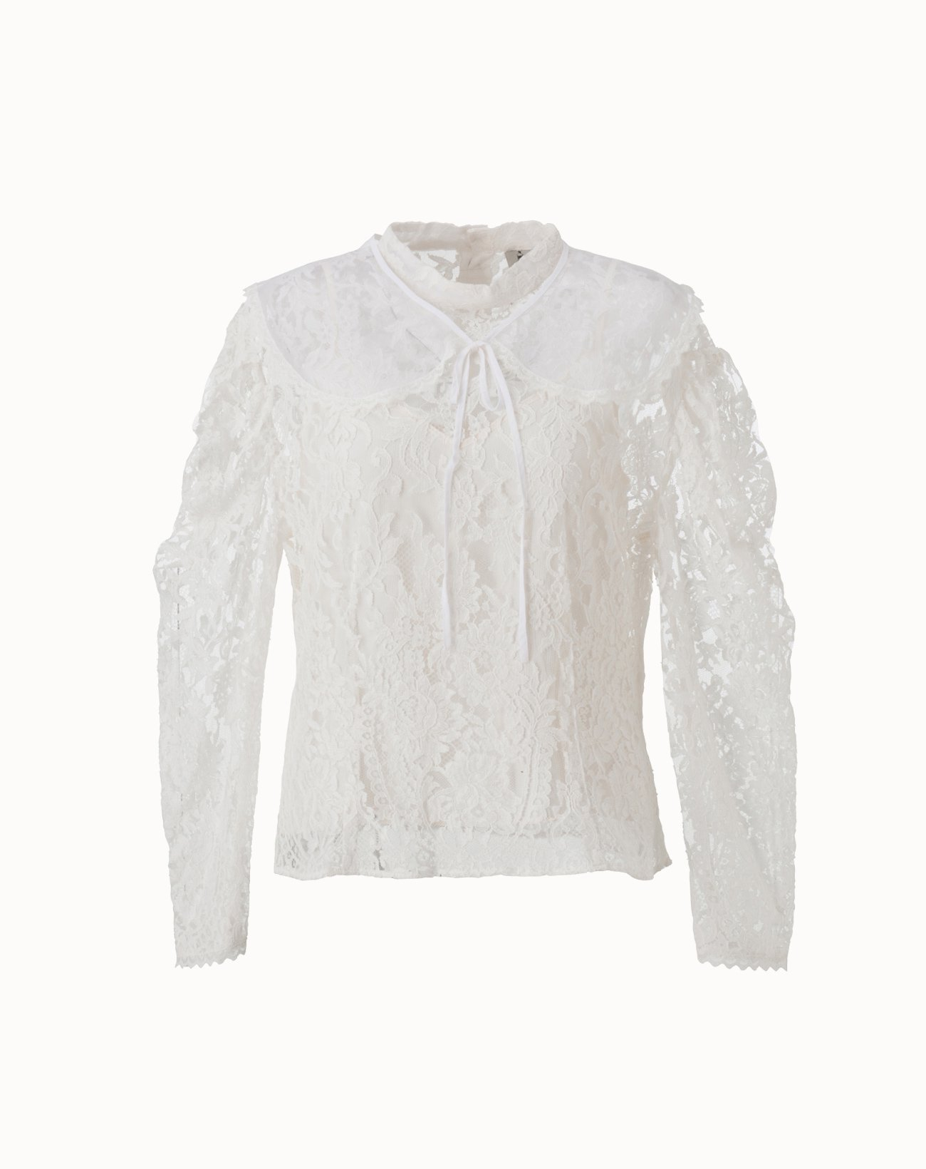 Lace Blouse with Cape - Off White