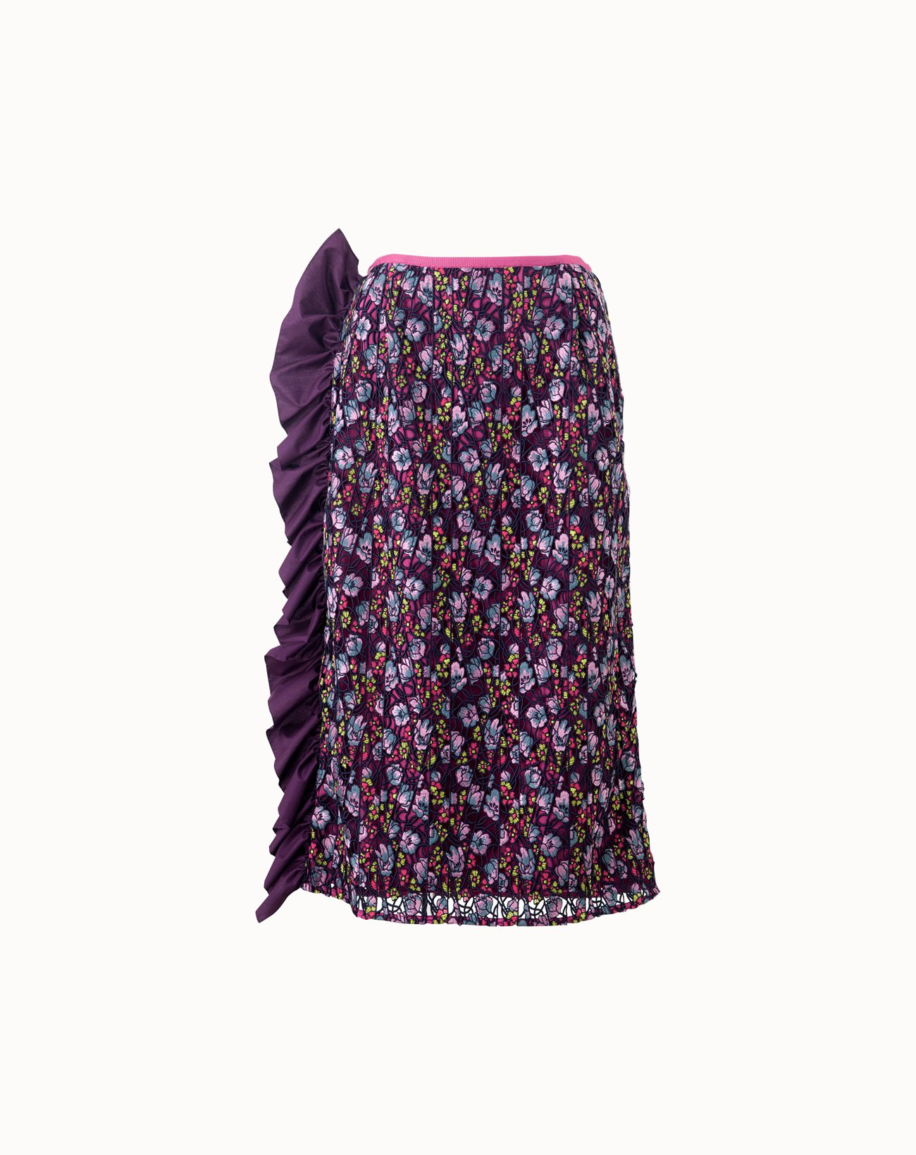Couture Lace Skirt with Frills  - Purple