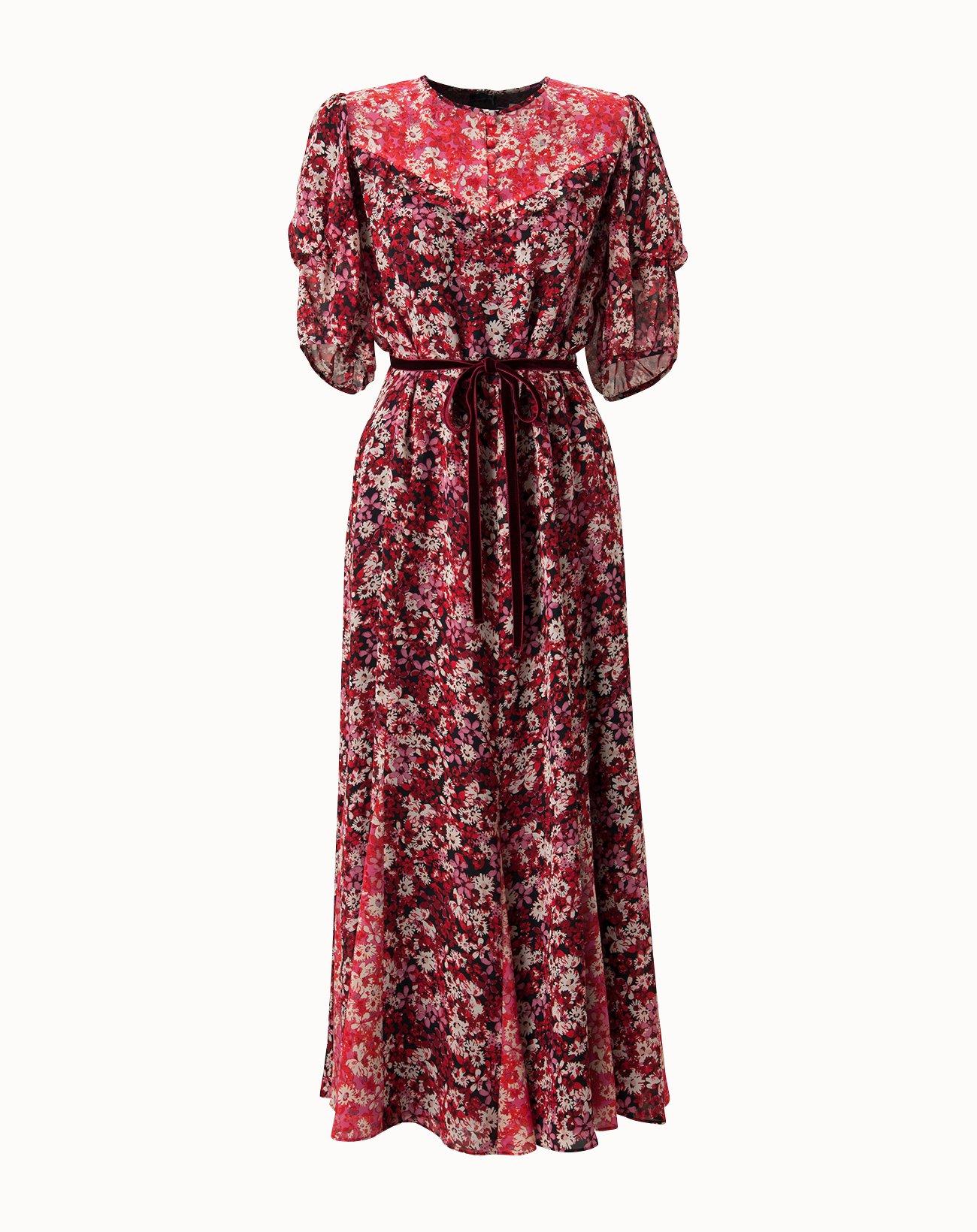 Palette Flower Dress - Red