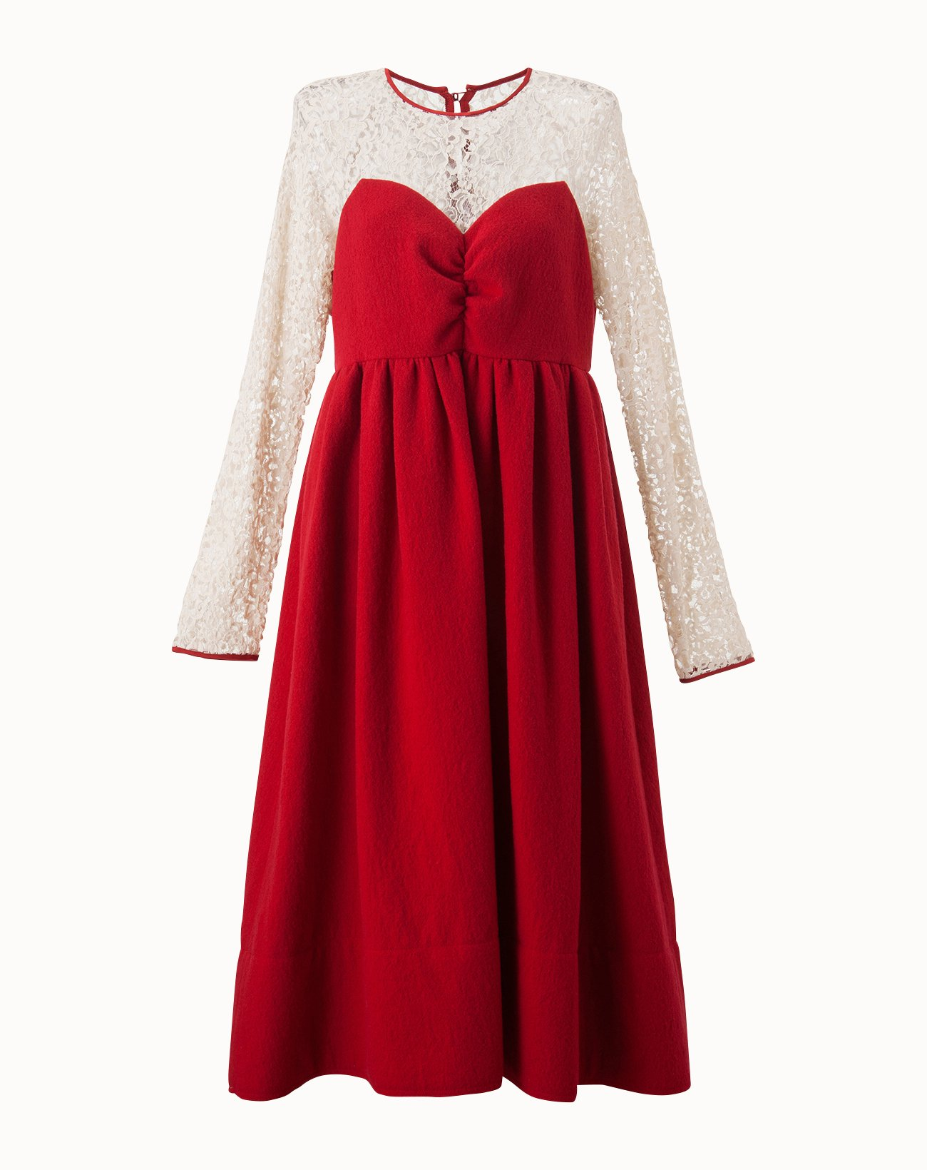 Wool Soft Melton Dress - Red