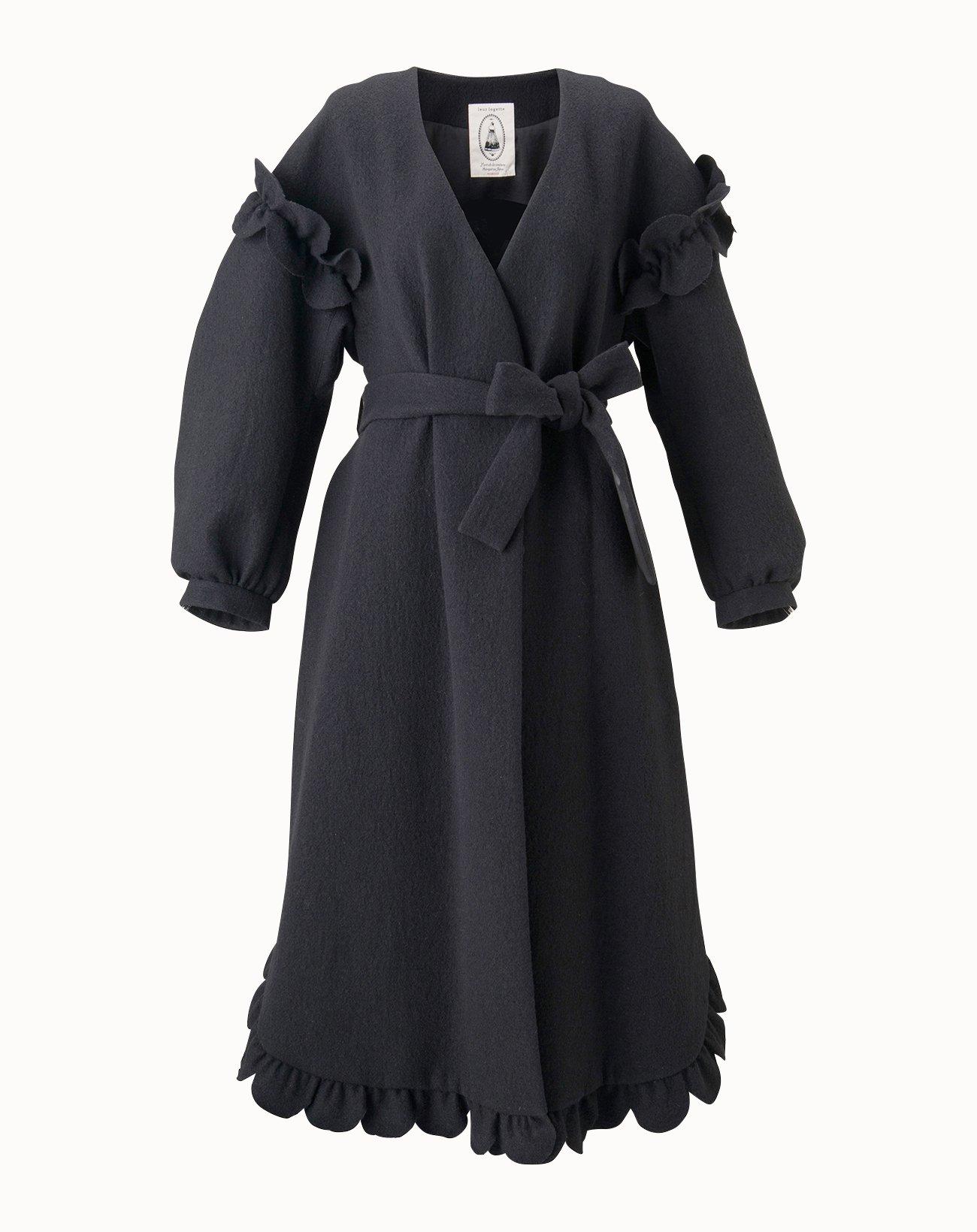 Wool Soft Melton Coat - Black