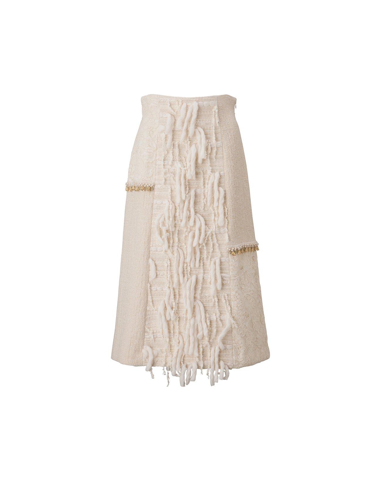 Roving Tweed Skirt - Off White