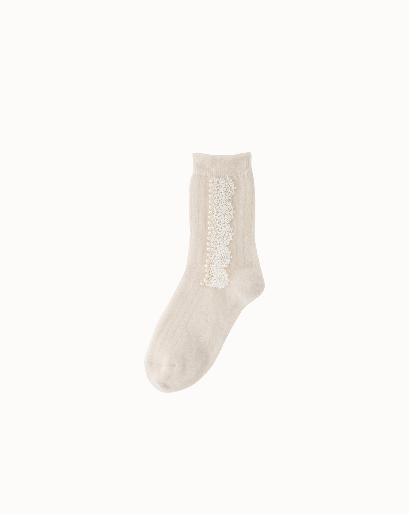 Cashmere Socks With Lace  - Off White