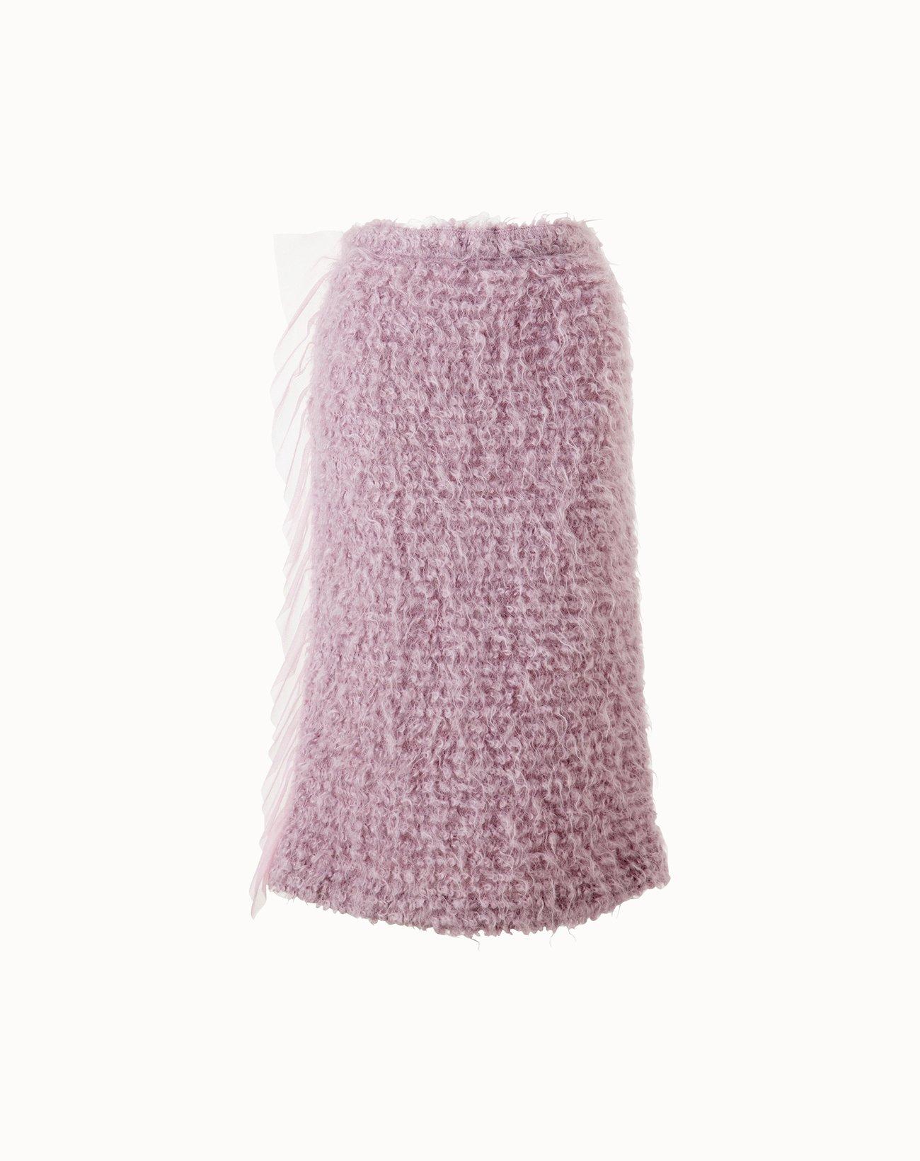 Knitting Shaggy Skirt  - Pink
