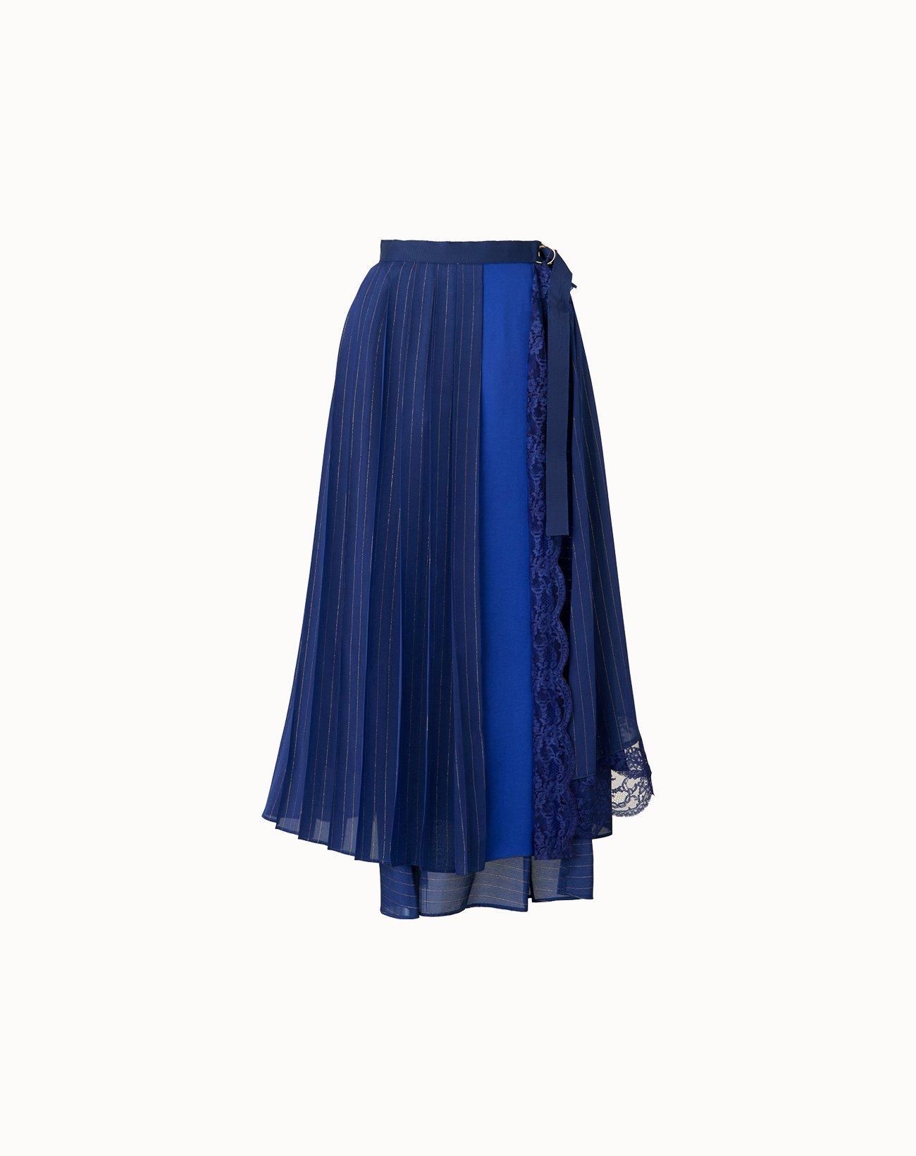 Cupro Stripe Skirt - Navy