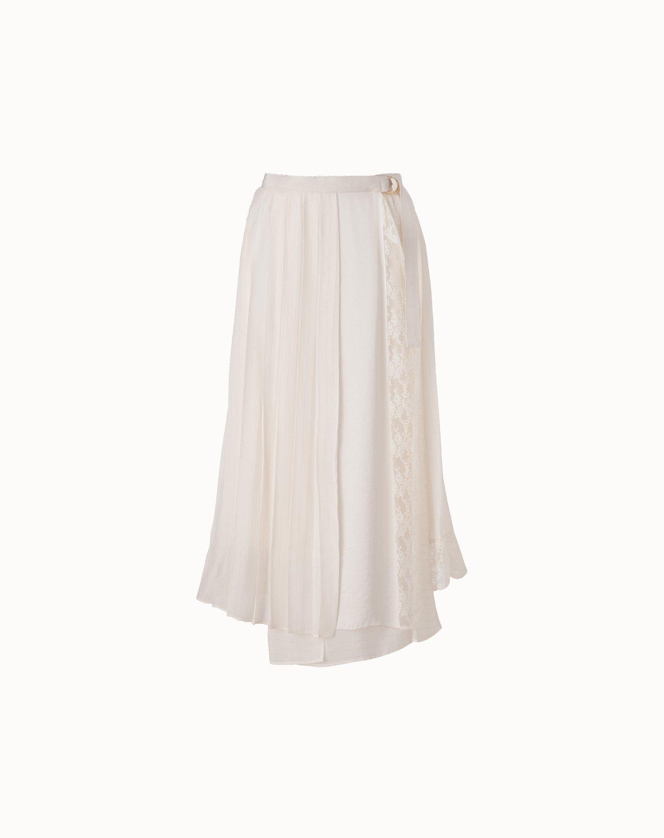 Cupro Stripe Skirt - Off White