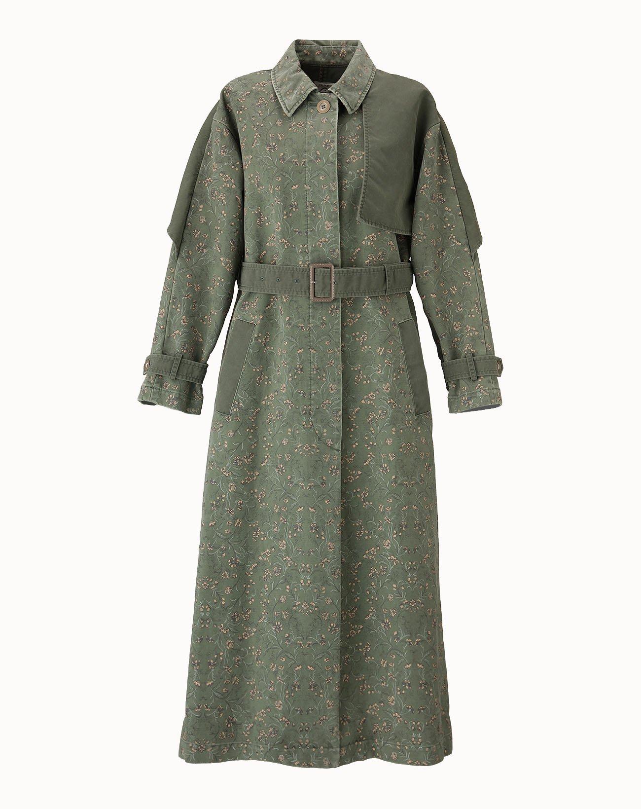 leur logette - Vintage Garden Printed Coat - Khaki