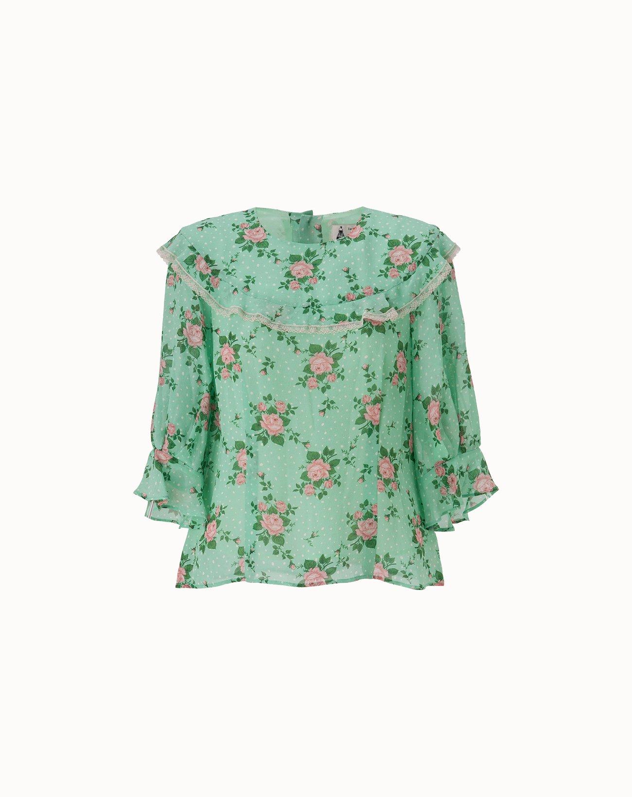 Dot Rose Printed Blouse - Green