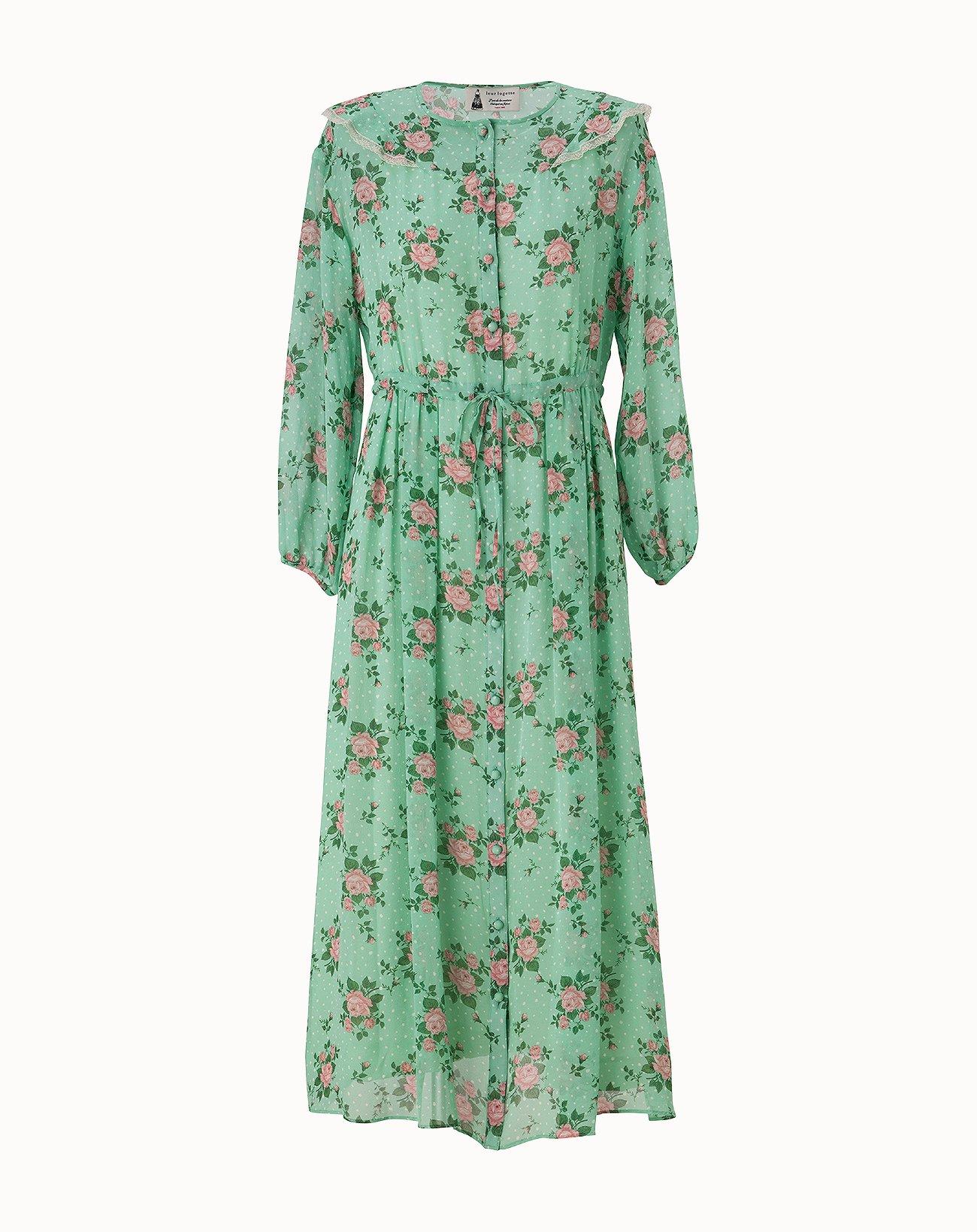 Dot Rose Printed Dress - Green