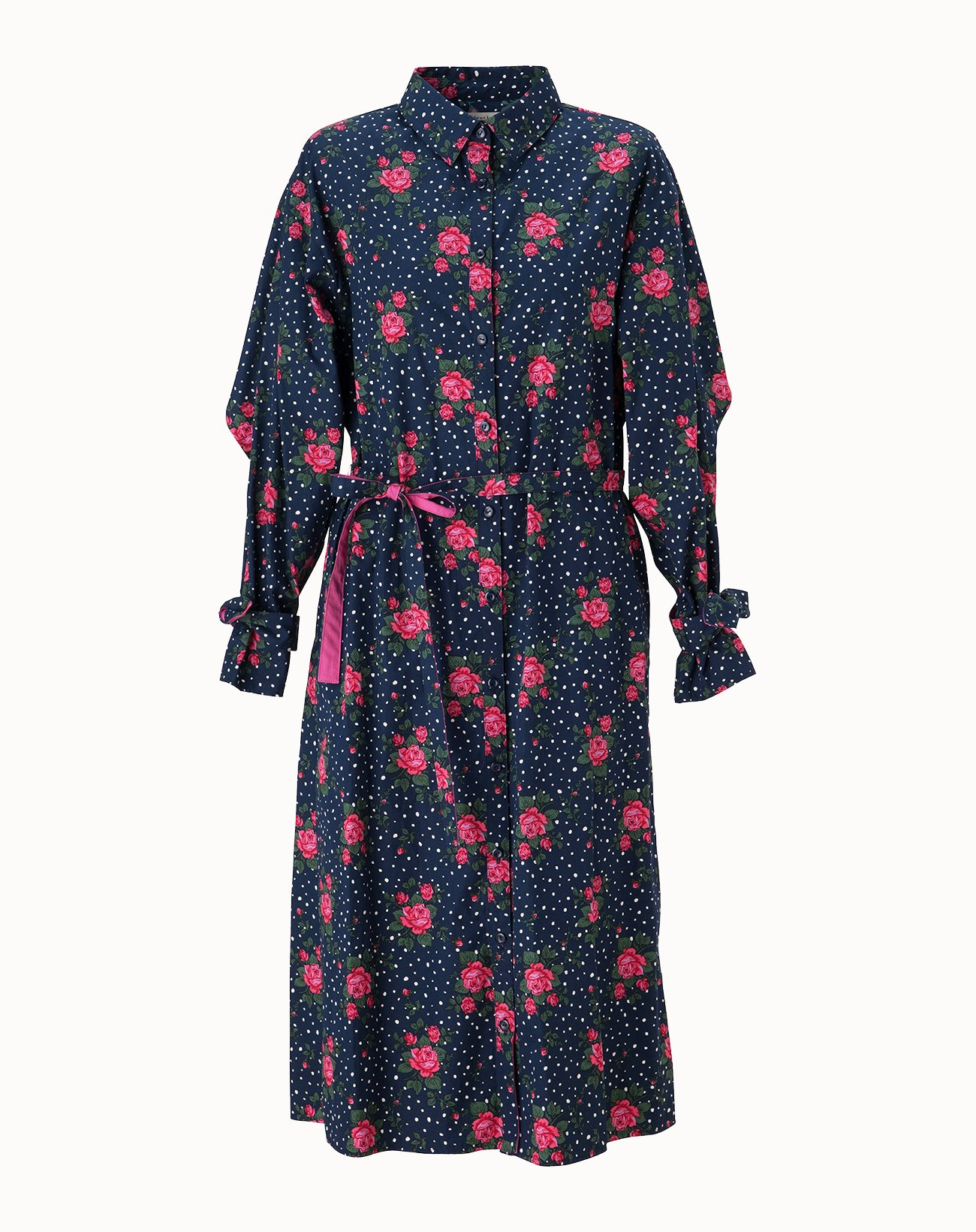 leur logette - Dot Rose Printed Cotton Dress - Navy
