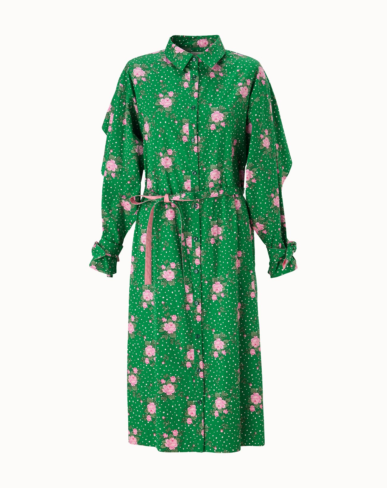 Dot Rose Printed Cotton Dress - Green