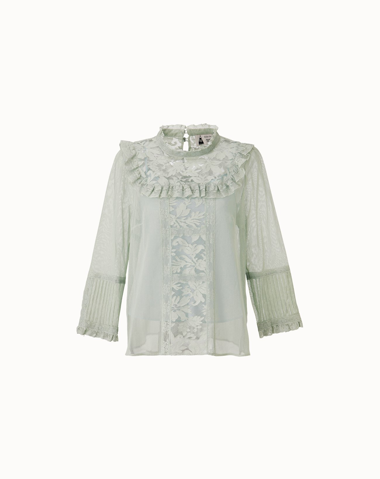 Cotton Tulle Lace Blouse - Green