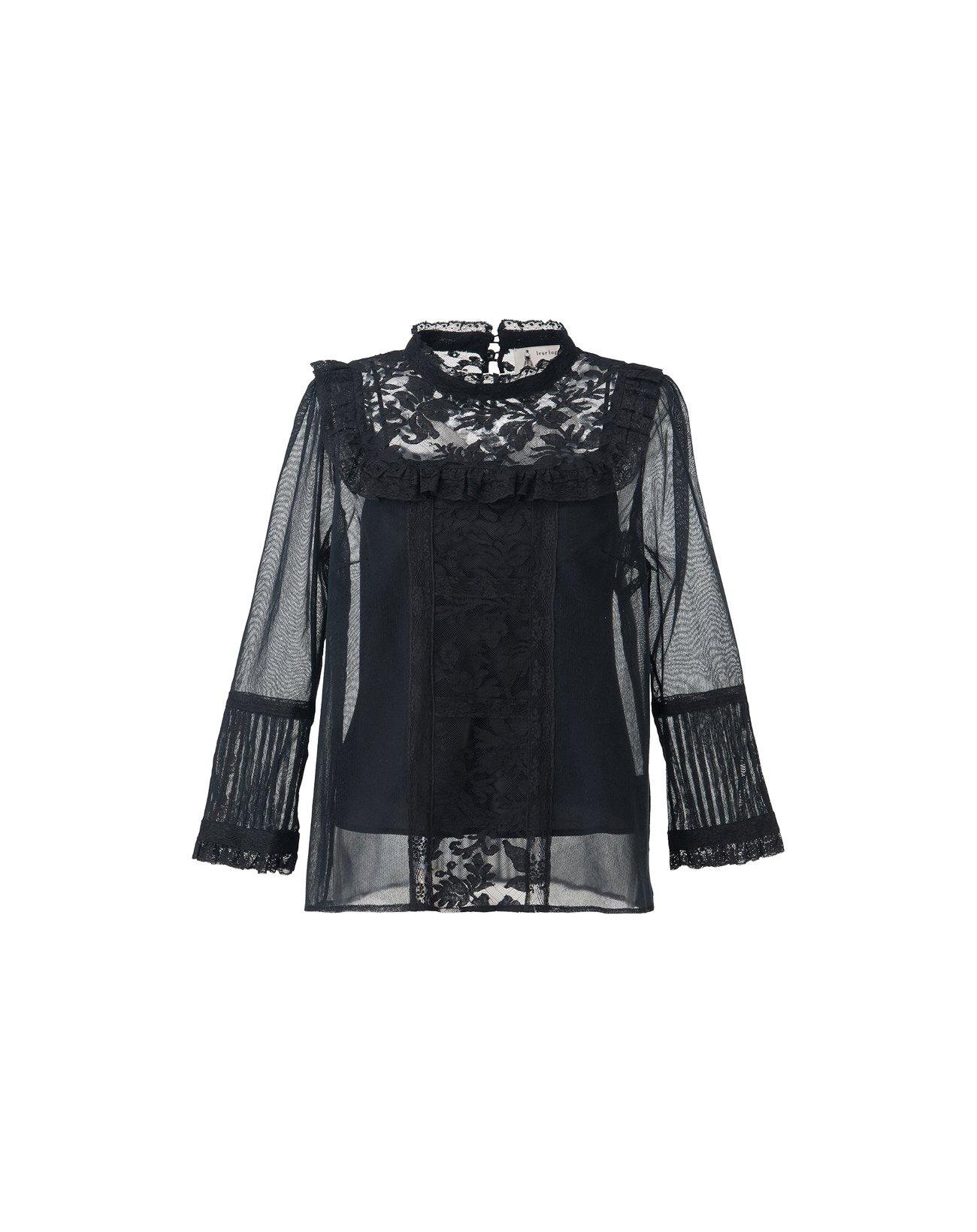 Cotton Tulle Lace Blouse - Black