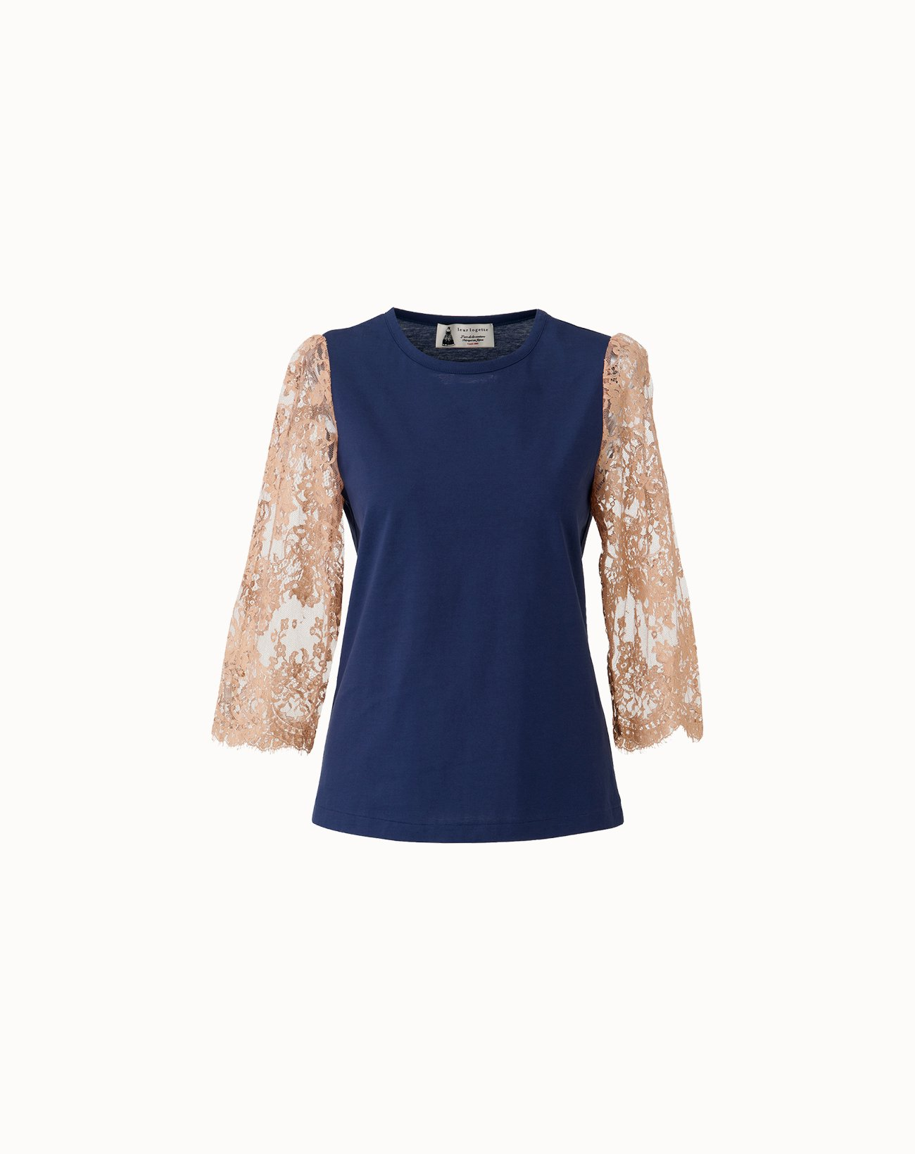 leur logette - Compact Cotton Sleeve Lace Top - Navy