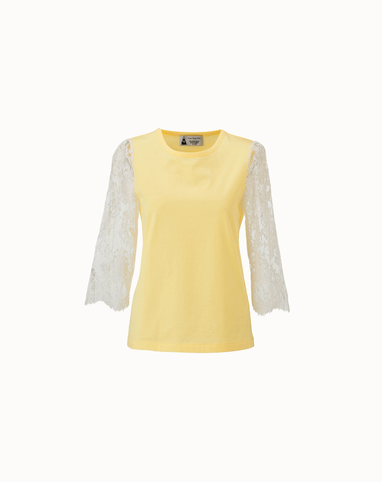 leur logette - Compact Cotton Sleeve Lace Top - Yellow