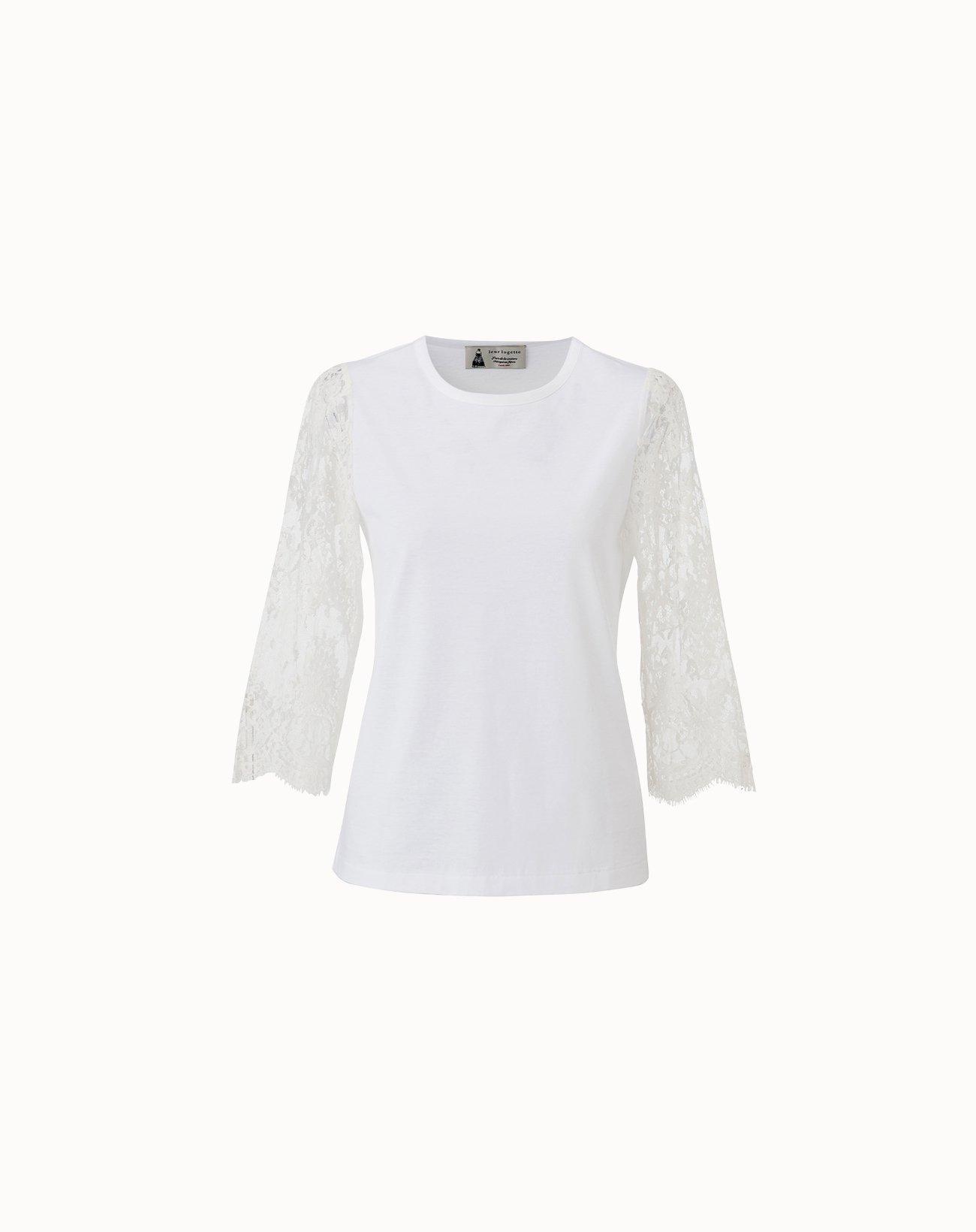 leur logette - Compact Cotton Sleeve Lace Top - White