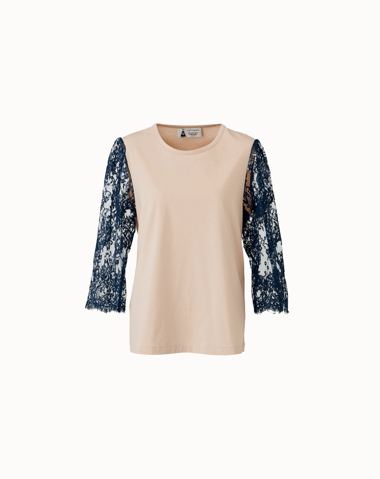 Compact Cotton Sleeve Lace Top - Beige*Navy