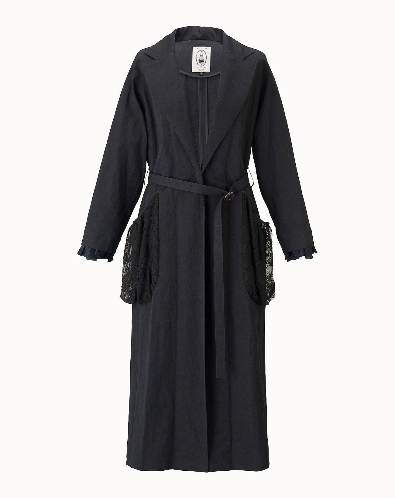 leur logette - Vintage Linen Coat - Black