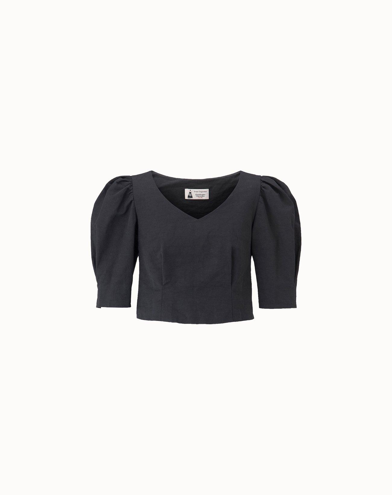 leur logette - Vintage Linen Blouse - Black