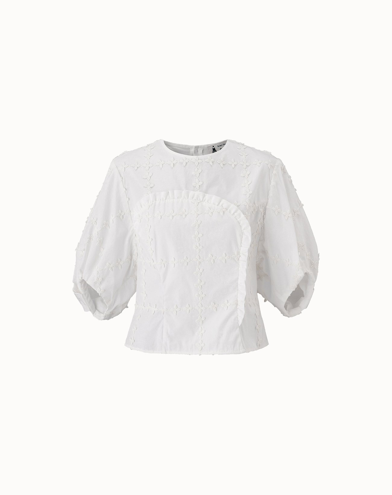 leur logette - Check Flower Embroidery Blouse - White
