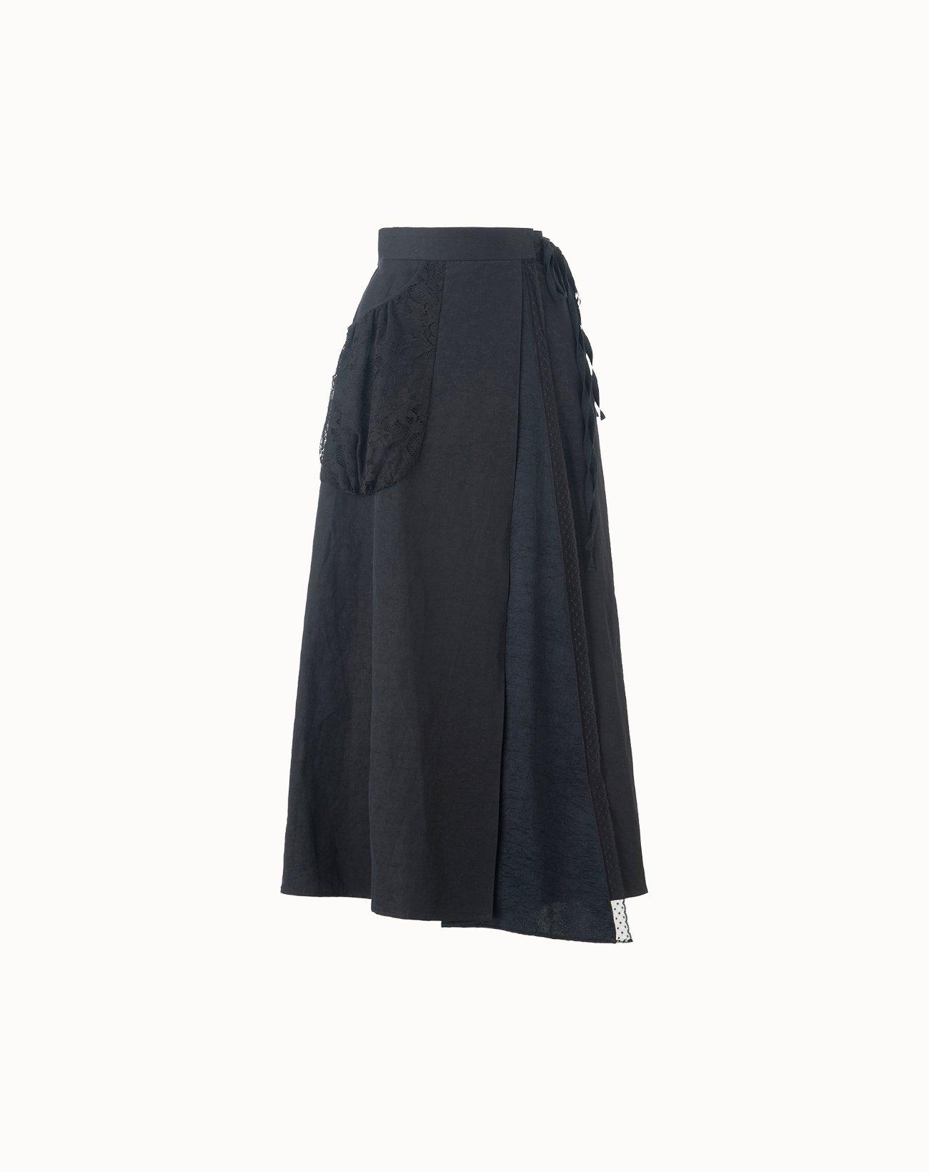 leur logette - Vintage Linen Skirt - Black