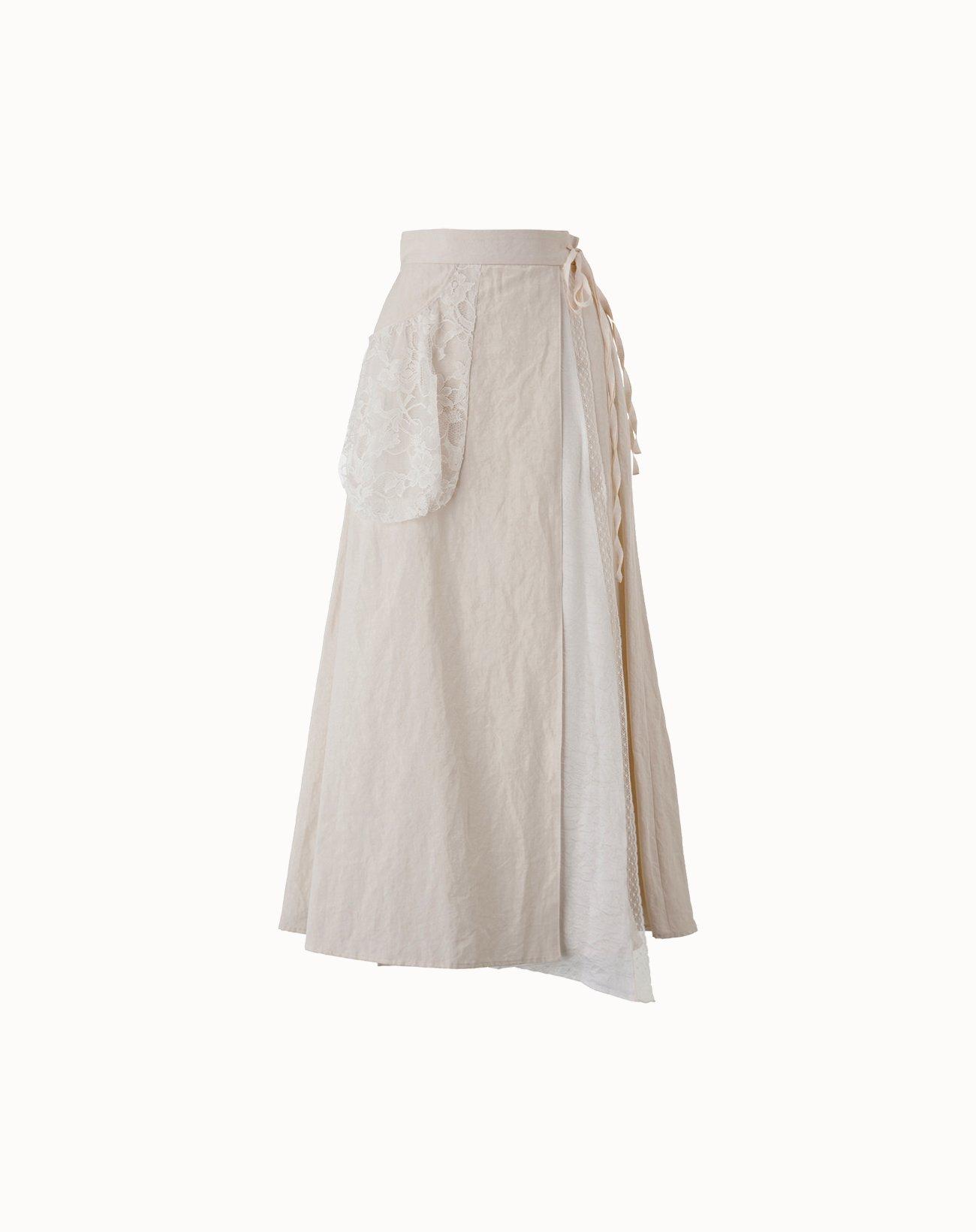 leur logette - Vintage Linen Skirt - Off-White