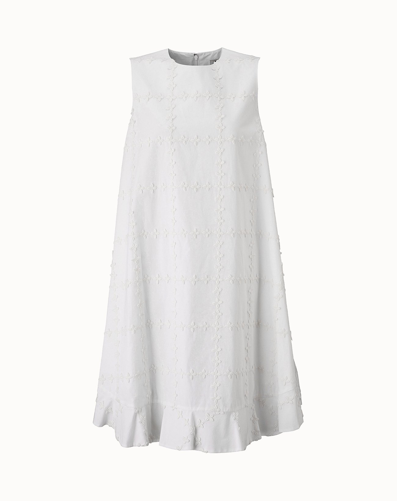 leur logette - Check Flower Embroidery Dress - White