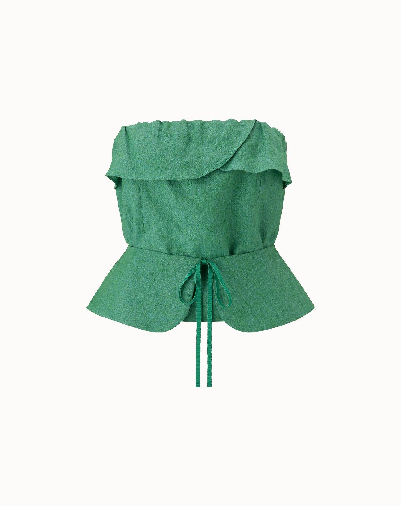 leur logette - Irish Linen Top - Green