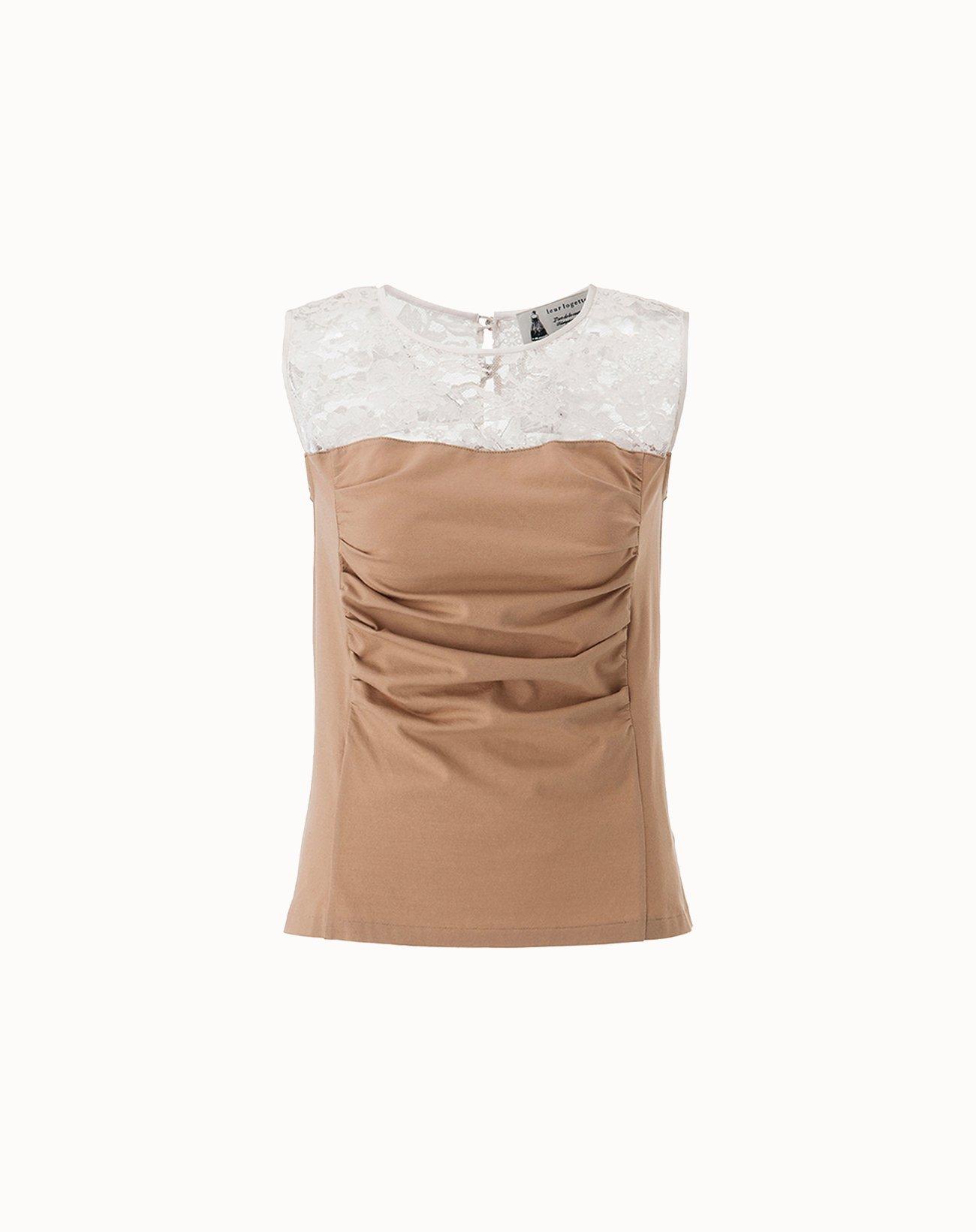 leur logette - Stretch Cotton Sleeveless Top - Beige