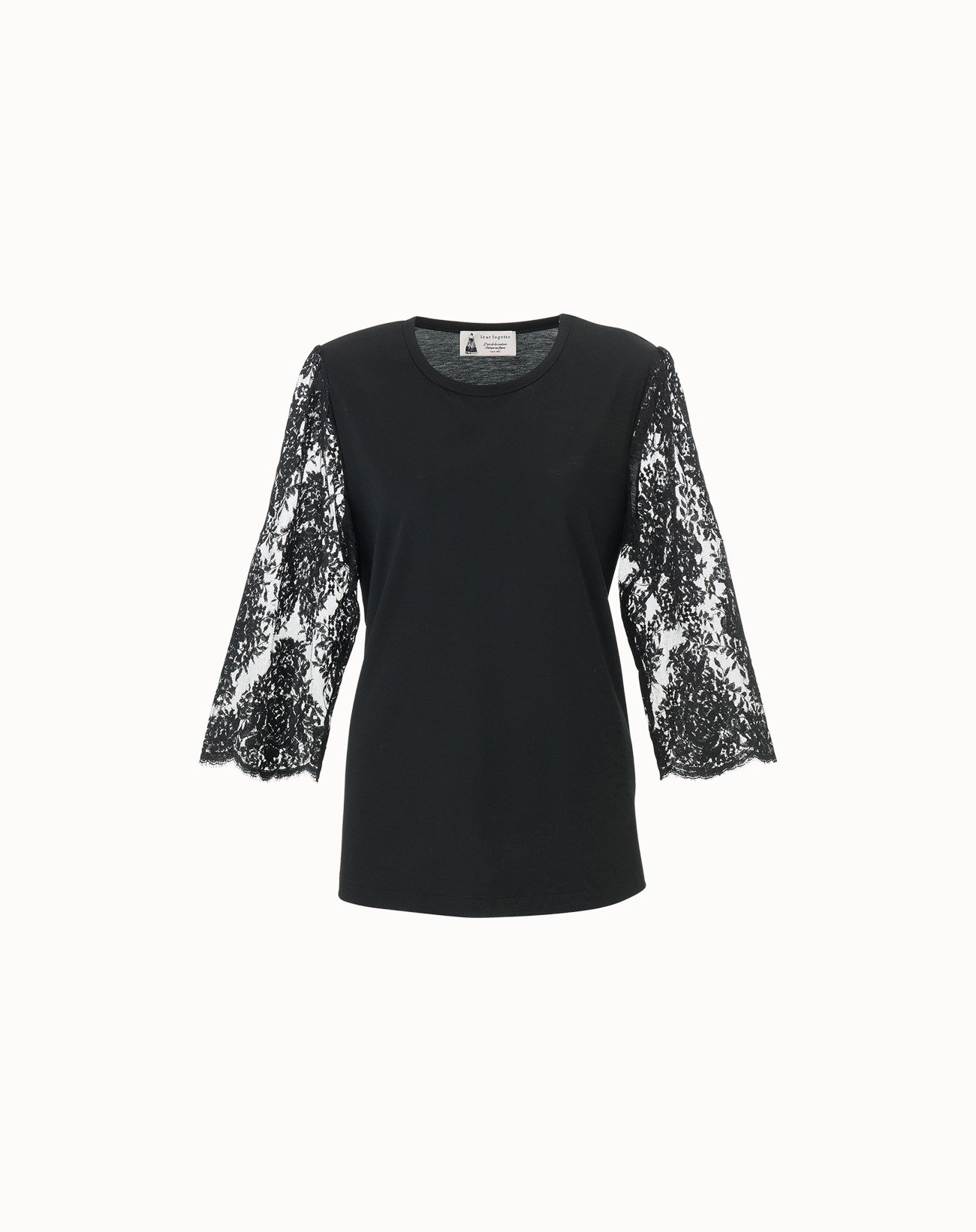 leur logette - Compact Cotton Sleeve Lace Top - Black