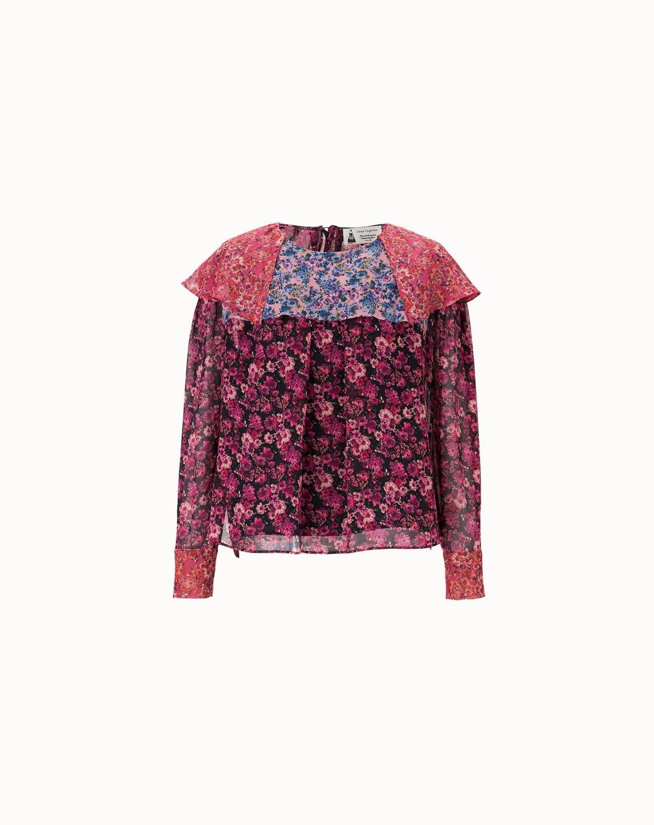 leur logette - Venus Flower Silk Blouse - Dark Pink