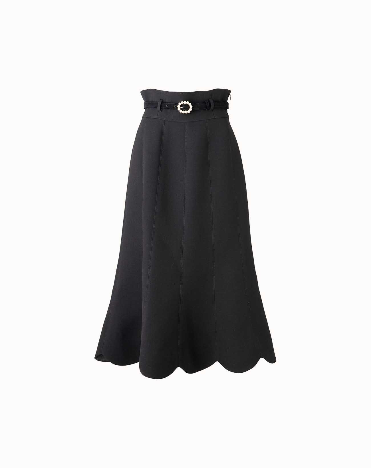 leur logette - Wool Triple Cloth Skirt - Black