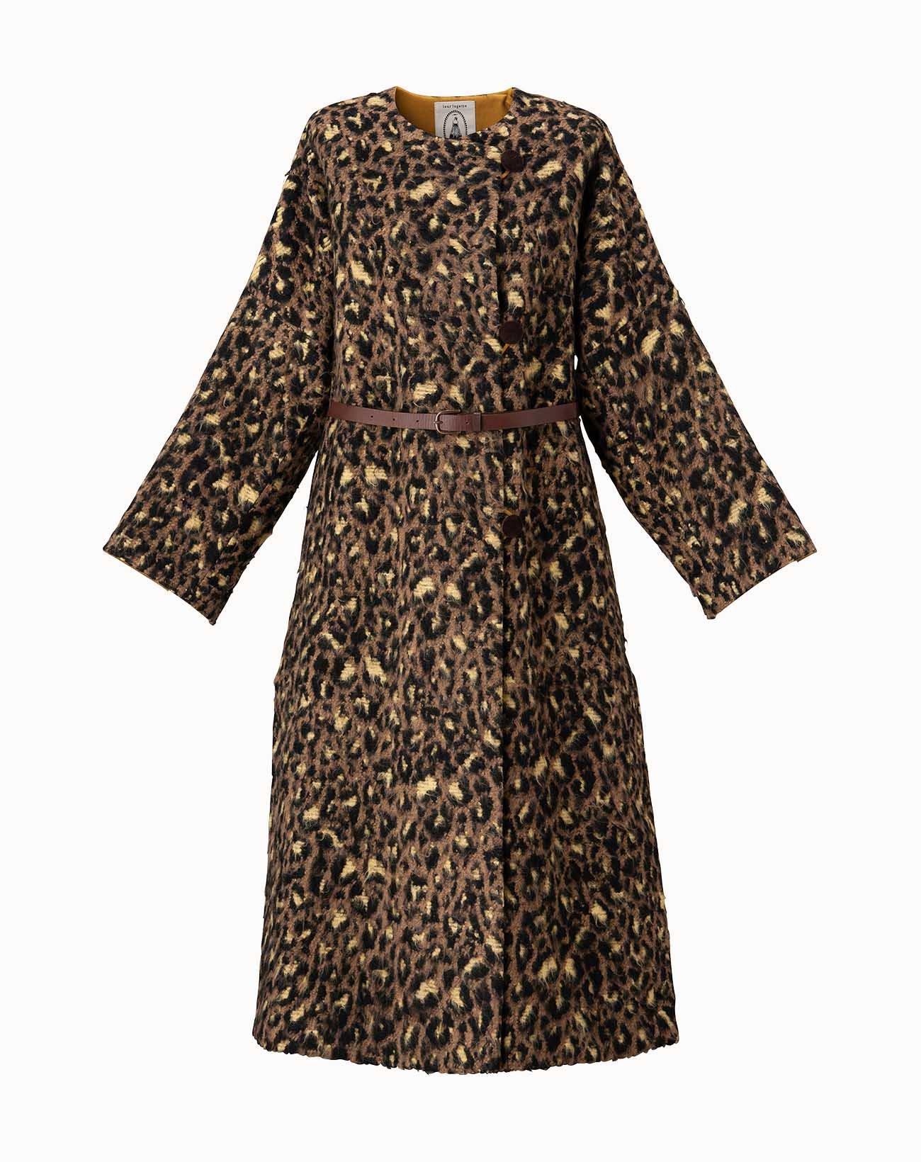 leur logette - Leopard Shagy Coat - Camel
