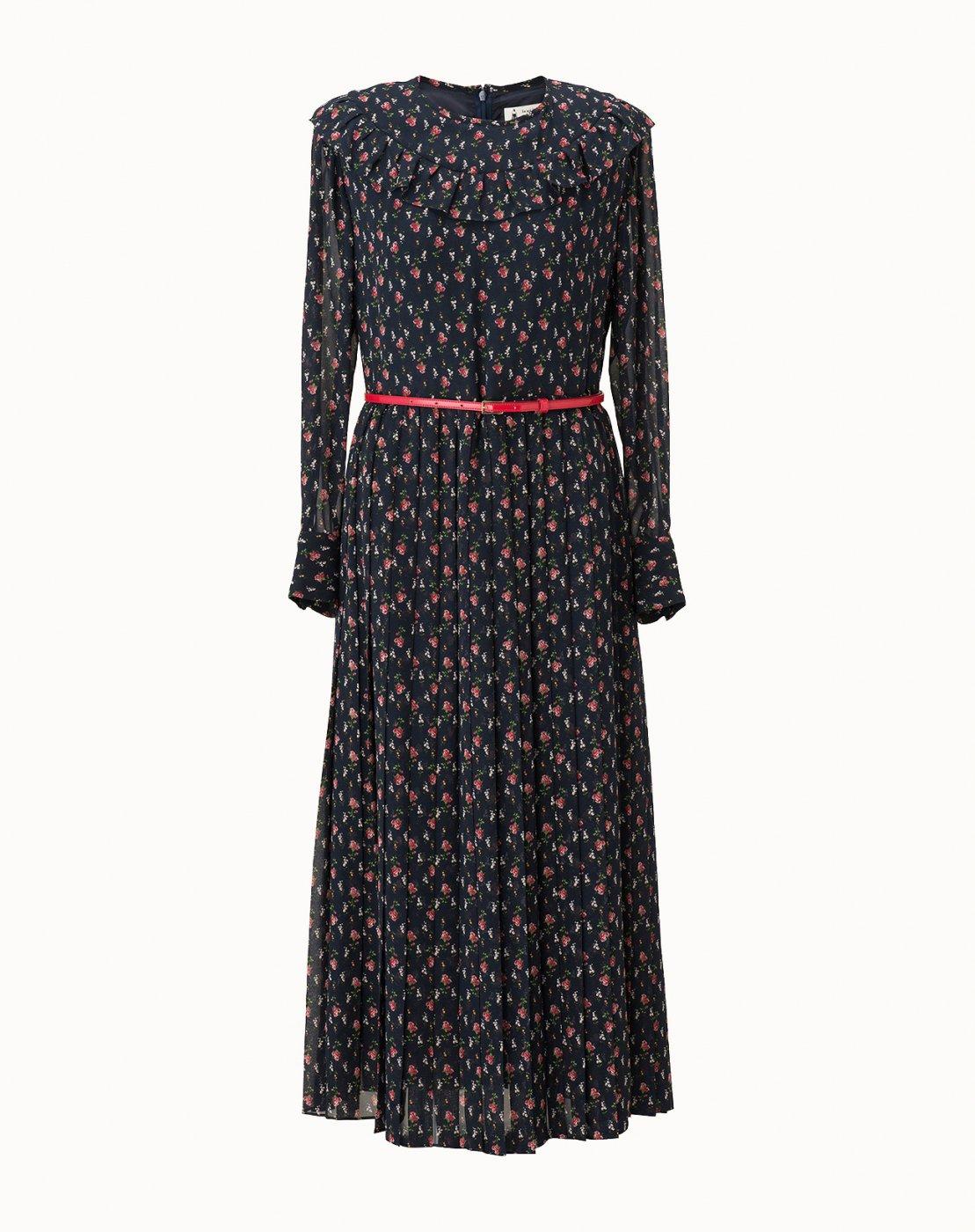 leur logette - Rose Line Printed Dress - Navy