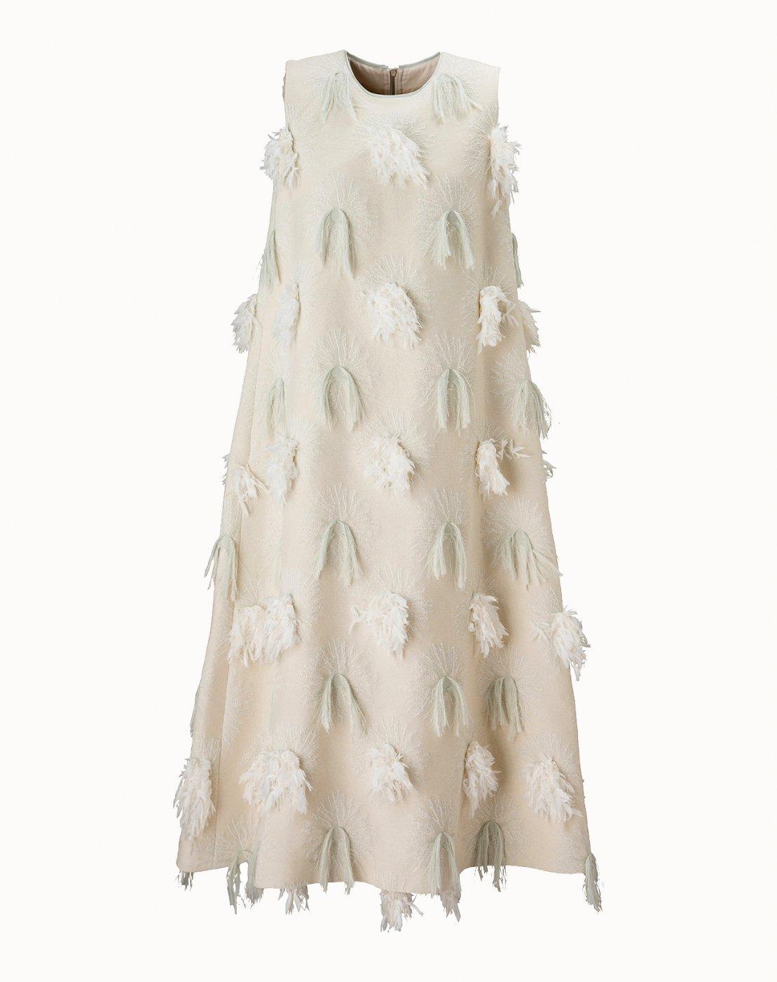 leur logette - Motif Tweed Dress - Off-White