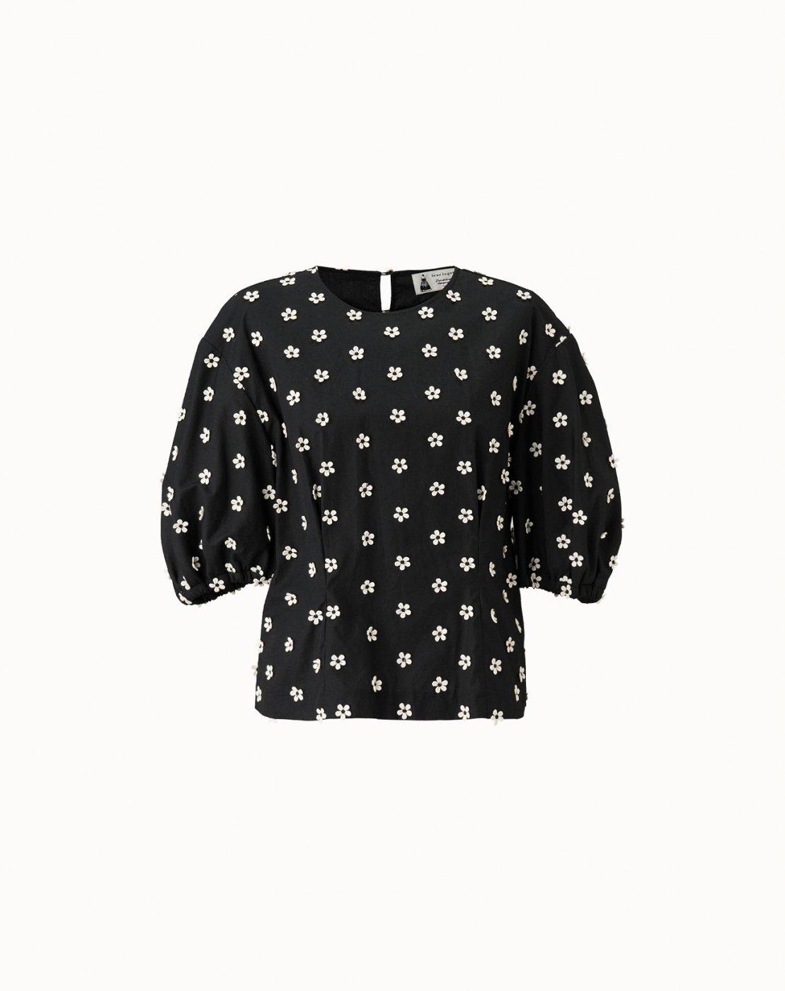 leur logette - Motif Embroidery Blouse - Black