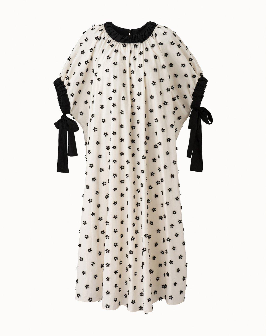 leur logette - Motif Embroidery Dress - Off-White