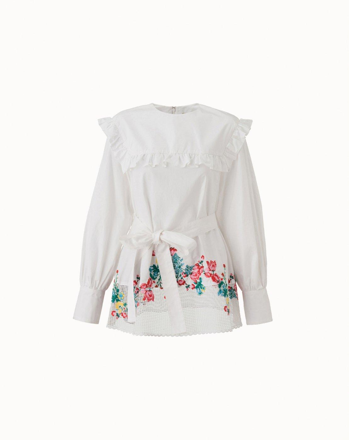 leur logette - Cotton Embroidery Blouse - White