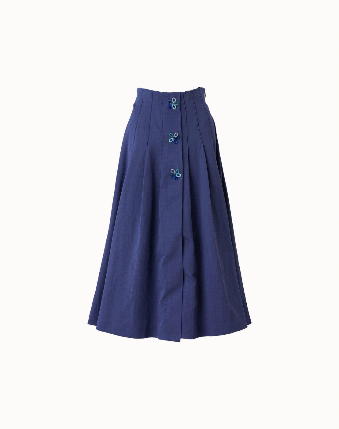 leur logette - Couture Linen Skirt - Navy