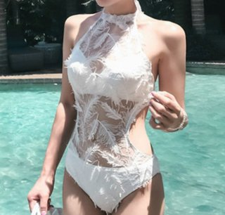 Boho Lace Feather Monokini Vintage One Piece Swimsuit レトロなヴィンテージ風フェザー羽モノキニワンピース水着スイムウェア