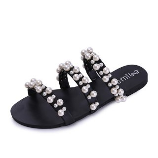 casual flat Pearl slippers sandals パール付フラットサンダル スリッパ シャワーサンダル