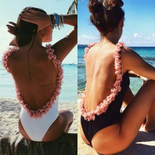Floral flowerbomb Backless 3D bodysuit Flower Swimsuit One Piece Swimwear 3Dフラワーレイ付ワンピース水着スイムウェア