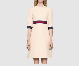 women's Simple one piece dress 五部丈袖シンプルドレス ワンピース