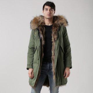 メンズ Mens Real Fox Fur Real Fur LinerHoodie Military Coat Long リアルファーフード&ライナー付ミリタリーモッズコート
