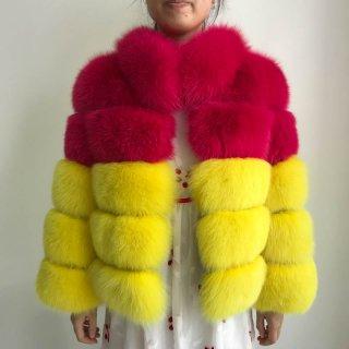 Women Real  Fox Fur Jacket coat Outerwear フォックスファーバイカラージャケット コート
